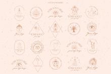 Collection Logotype Of Buddhism And Hinduism, Yoga Objects, Esoteric And Boho Elements, Plants, Buddha, Ganesha, Mandala, Lotus. Minimalistic Objects One Linestyle. Editable Vector Illustration.