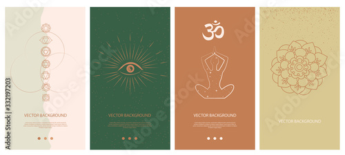 Fotografía Set of abstract vertical background with elements of buddhism and hinduism plants in one line style
