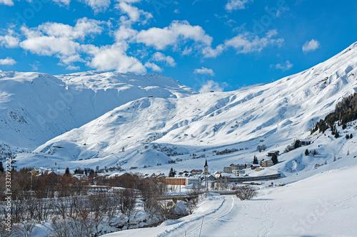 Dorf Realp im Winter, Uri, Schweiz