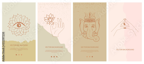 Photo Set of abstract vertical background with elements of buddhism and hinduism plants in one line style