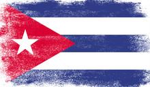 Cuba Flag With Grunge Texture