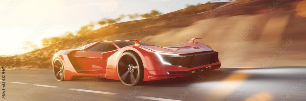 Fototapeta Schneller roter Sportwagen rast auf Straße