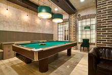 Billiard Hall With A Big Pool ...