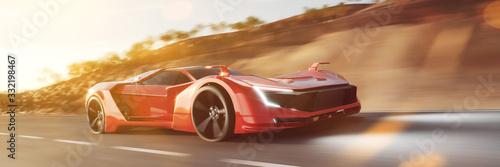 Fotomural Schneller roter Sportwagen rast auf Straße