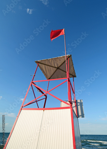 turret of lifeguard on the beach Canvas Print