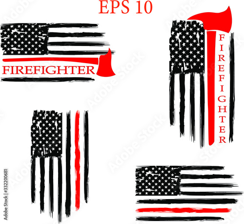 Photo Distressed, Firefighter Flag, EPS 10, Fire, Department, USA, Flag,set