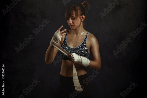 фотография Woman ready for fight concept