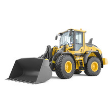 Wheel Loader Isolated On White. Yellow Front Loader. Loading Shovel. Side View Of Heavy Equipment Machine. Industrial Vehicle. Pneumatic Truck. Tractor Front Loader. Manufacturing Equipment