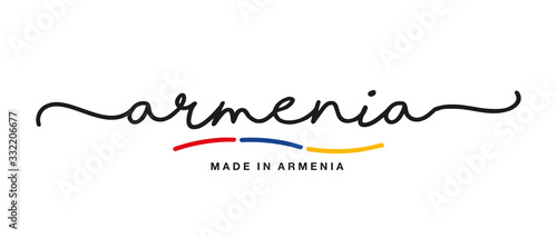 Photo Made in Armenia handwritten calligraphic lettering logo sticker flag ribbon bann