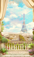 Fototapeta Paryż Beautiful view from the balcony, in white and red roses, of Paris and the Eiffel Tower. Digital collage , mural and fresco. Wallpaper. Poster design. Modular panno.