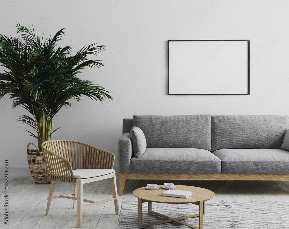 Fototapeta blank horizontal picture frame mockup in modern interior  living room background in gray tones with gray sofa and wooden armchair, palm tree and coffee table, scandinavian style, 3d render