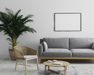 blank horizontal picture frame mockup in modern interior  living room background in gray tones with gray sofa and wooden armchair, palm tree and coffee table, scandinavian style, 3d render