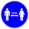 canvas print picture - shas601 SignHealthAndSafety shas - german label / banner - Abstandsgebot, Gebotszeichen: Bitte Abstand halten. - 1,5 meter. - english / mandatory sign: keep your distance - prevention - xxl g9348