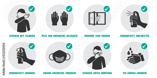 Obraz Preventive measures icons for not getting sick and not spreading virus - fototapety do salonu