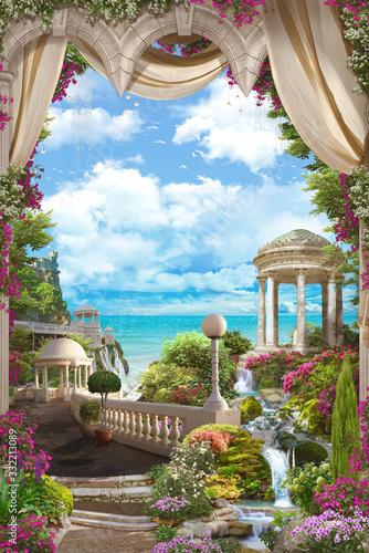 Fototapety do przedpokoju  piekne-widoki-na-morze-i-biala-altana-z-tarasu-w-rozowe-kwiaty-i-bezowe-zaslony