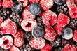 Bunch of frozen berry fruit background pattern