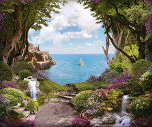 Beautiful Forest With Flowers, Waterfalls And Access To The Sea. Digital Fresco. Mural. Wallpaper.