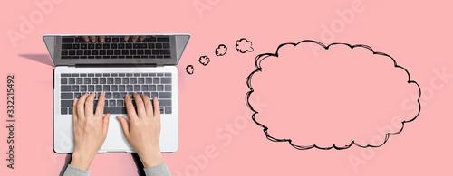 Obraz Blank speech bubble with person using a laptop computer - fototapety do salonu