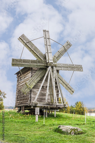 An old wooden windmill on Kizhi island . Russian Federation.