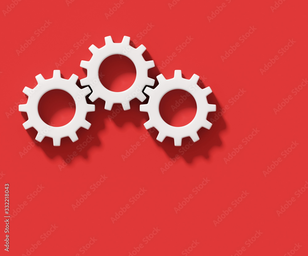 Fototapeta Three white connecting gear cogs isolated on red background; flat lay, close up, top view 3d rendering, 3d illustration