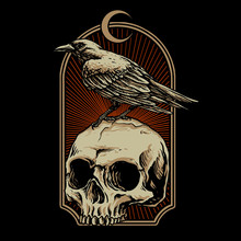 Crow With Skull Vector Illustration