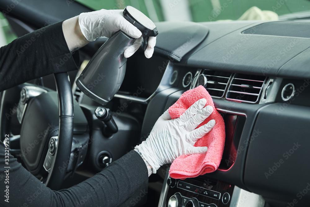 Fototapeta automobile detailing service. Car interior cleaning