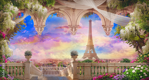 Obrazy do jadalni  beautiful-view-from-the-flower-covered-balcony-to-the-eiffel-tower-and-pink-sunset-digital