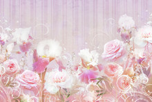 Collage Of Roses And Irises Wi...