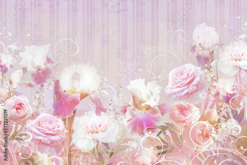Do łazienki   collage-of-roses-and-irises-with-dots-on-a-stone-texture-with-stripes-digital-mural-sfondi-and-wallpaper
