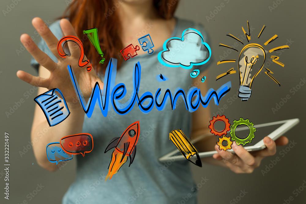 Fototapeta webinar 3d digital online class training from home office