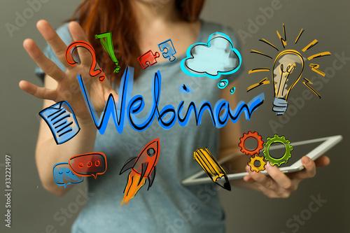 Fotografie, Obraz webinar 3d digital online class training from home office