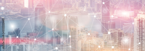 Networking fast wireless internet concept iot network telecommunication 5g website header double exposure city skyline view.