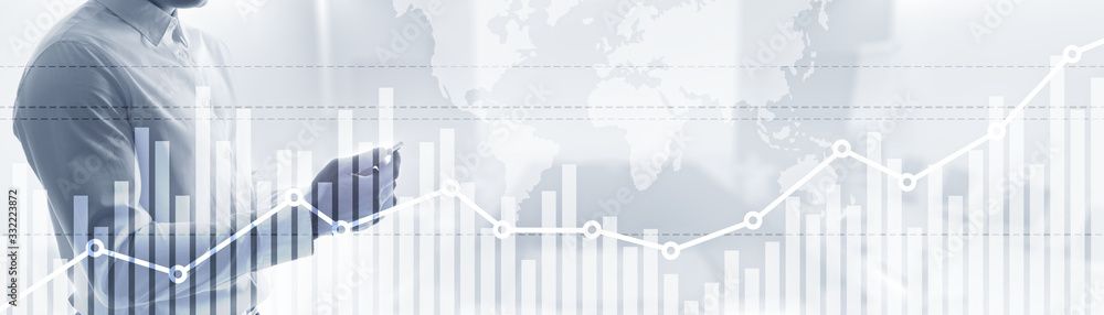 Fototapeta Double exposure global world map on business financial stock market trading background.