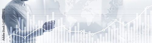 Foto Double exposure global world map on business financial stock market trading background