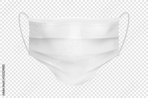 Obraz Vector 3d Realistic Blank Disposable Breathing Respiratory Medical Hospital Pollution Protect Face Mask Closeup Isolated. China Coronavirus Quarantine. 2019-nCoV, COVID-2019 concept - fototapety do salonu