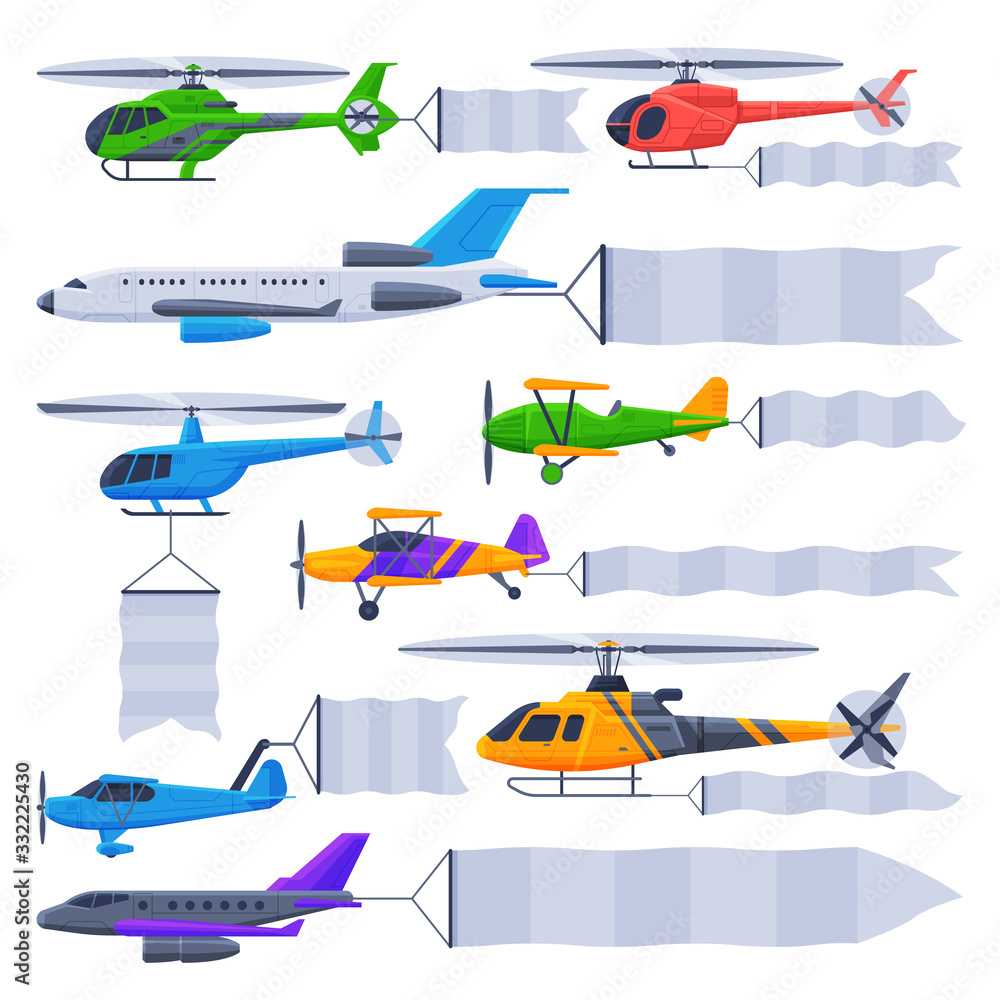 Fototapeta Flying Planes and Helicopters with Blank Banners Collection, Air Vehicles with White Ribbons for Advertising Vector Illustration