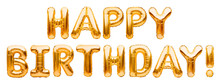 Words HAPPY BIRTHDAY Made Of Golden Inflatable Balloons Isolated On White Background. Gold Foil Helium Balloons Forming Phrase. Birthday Congratulations Concept, HBD Phrase, Happy Birthday Wishes