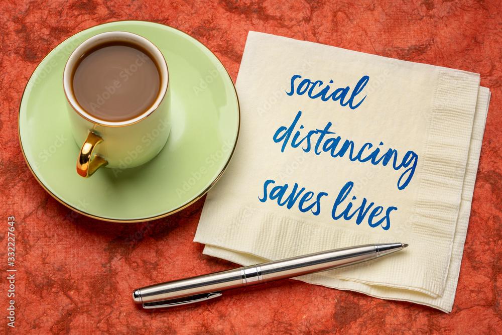 Fototapeta social distancing saves lives reminder