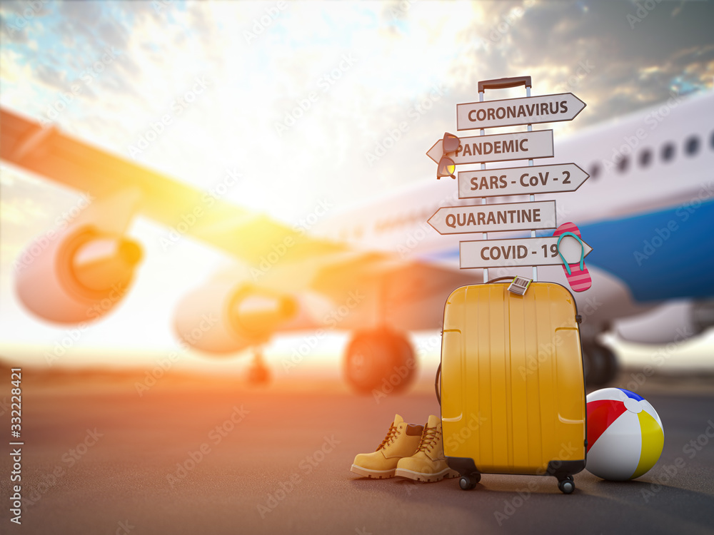 Fototapeta Coronavirus crisis in travel and tourism industry concept.  Airplane, suitcase and arrows with  travel directions closed due to pandemic.