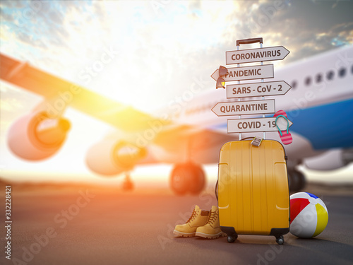 Obraz Coronavirus crisis in travel and tourism industry concept.  Airplane, suitcase and arrows with  travel directions closed due to pandemic. - fototapety do salonu