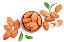 Almonds Nuts With Leaves In Wo...