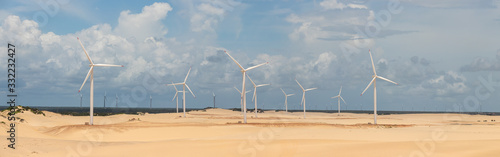 Vászonkép Panoramic image of wind farms in Parque das Dunas, Canoa Quebrada, Aracati, Cear