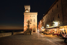 Town Hall Square In San Marino Late In The Evening In Summertime