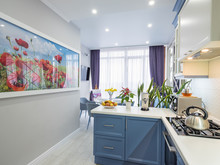 Interior Of Modern Kitchen With View To Working Space And Huge Wall Poster Of Poppies