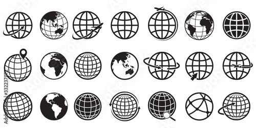 Obraz Earth globe Icon set, vector Illustration - fototapety do salonu