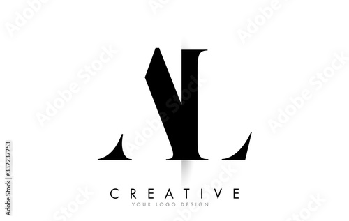 AL A L Letter Logo with Creative Shadow Cut Design. Wallpaper Mural