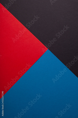 Photo Black, red, blue color of paper background, texture, copy space, diagonal, vertical