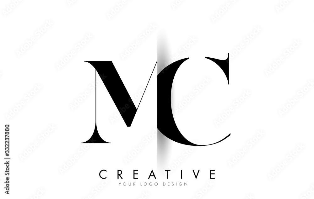 Fototapeta MC M C Letter Logo with Creative Shadow Cut Design.