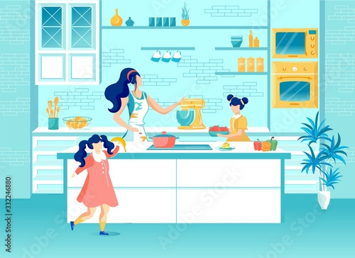 Happy Mother and Daughters Cooking on Home Kitchen Wallpaper Mural