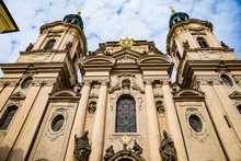 Prague, Czech Republic - March 19, 2020. St. Nicholas Church In Old Town Square During Coronavirus Crisis And Travel Ban